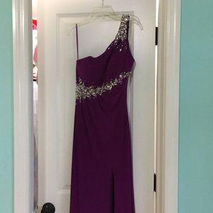 Cache purple jeweled prom dress